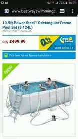 13.5ft steel framed Swimming pool, ladder + geobubble solar cover + chemicals BRAND NEW