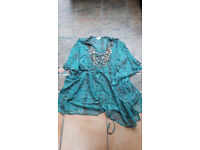 Immaculate Debenhams cover up turquoise & brown with beading work size 16.