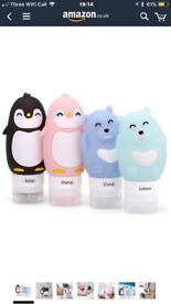 Cartoon Travel Bottles Set - Refillable BPA Free TSA Approved Leak Proof Silicone Travel Containers