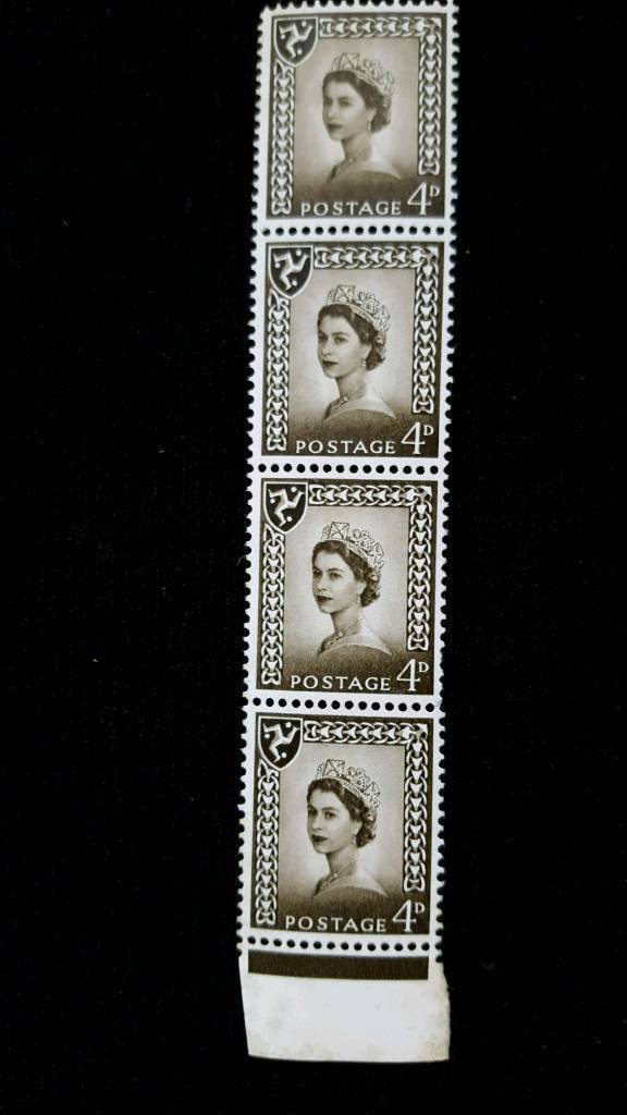 STRIP OF 4 4d BROWN ISLE OF MAN WILDING STAMPS