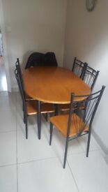 KITCHEN TABLE & SIX CHAIRS