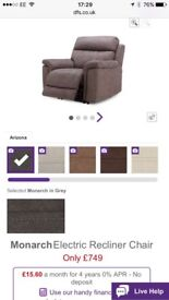 2 brand new DFS Monarch electric armchairs
