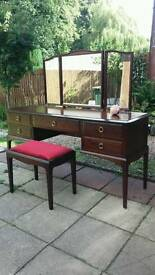 Stag dressing table with stag mirror and matching stag stool