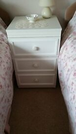 Small white bedside chest of drawers