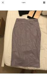 Faux leather Grey pencil skirt