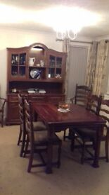 Medium Oak Table + Chairs and Dresser
