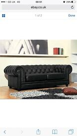 NOT SELLING LOOKING TO BUY. Black leather chesterfield and chair like the one in the picture