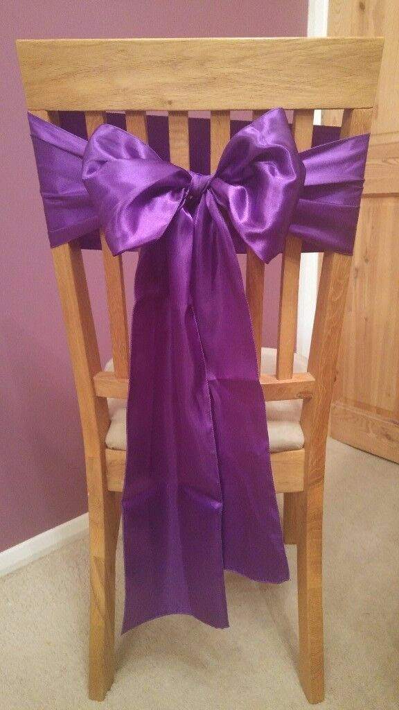 50 Purple Satin Chair Sashes - Wedding Decorations - Reception Decorations