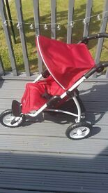 BRITAX (Bob) - 3 wheeler dolls buggy with shopping basket- RED (Immaculate like new)