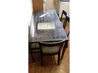 dinning table for sale - glass top and metal frame