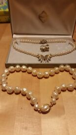 Pearl Crystal Necklace, Earrings Set Jewellery, plus pearl necklace and bracelet