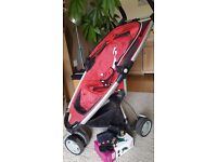 QUINNY ZAPP red pushchair with basket, car seat adaptors and travel bag