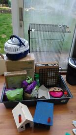 Ferplast small pet cage, outside run & various accessories - will fit 2 guinea pigs