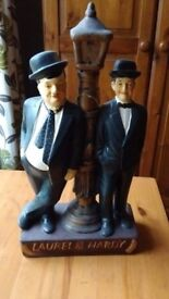 Laurel and Hardy with a lantern statuette