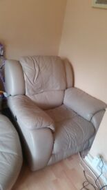 Cream leather arm chair automatic recliner