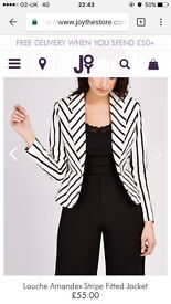 Joy size 12 Amandex Black/White Stripe Women's Blazer Jacket (Was £55, Now £32)