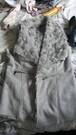 Grey fur gillet size 12