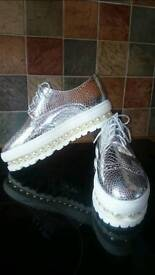 BRAND NEW SILVER OXFORDS LEATHER PEARLS SHOES