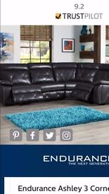 Black with black stitching Corner suite with chair