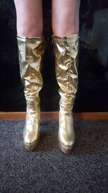 Ladies Fancy Dress Gold Platform Boots Size 7/8