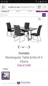 **BRAND NEW** marble and chrome dining table and 4 leather chairs