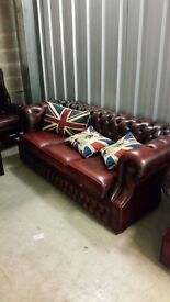 3 Seater Red Antique Leather Chesterfield Settee - 2 available