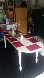 Hand painted cream wooden dining table