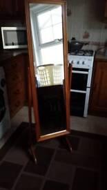 Large swivel mirror in teak