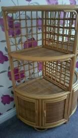 Pair of bamboo and rattan corner units