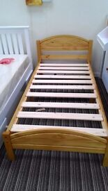 3ft Solid Pine, antique pine finish, small double panel bed in a box frame, HUGE DISCOUNT just £45!