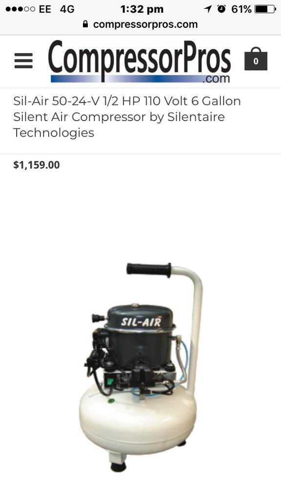Sil-air silent air compressor 240v