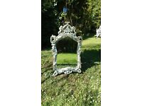 Large Distressed Rococo Style Mirror