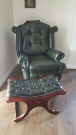 Queen Anne leather armchair and slipper stool