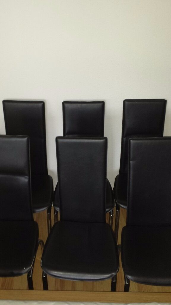 Dining chairs x6 black faux and chrome