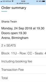 2 x Shania Twain tickets- Birmingham 24/9/18