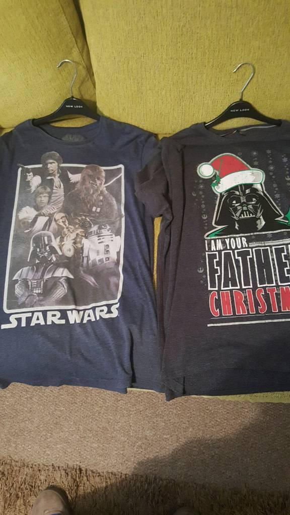 2 mens star wars t-shirts used size XXL