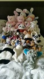 Large bundle of soft cuddly toys