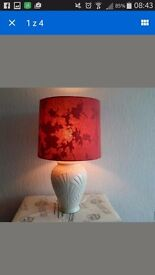 solid standing lamp, red and beiege, flowers, vintage