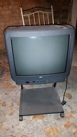 old LG TV on wheeled stand only £10