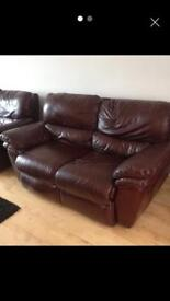 2 seater Oxblood genuine leather reclining sofa