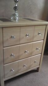 2 light oak side boards 1 large 1 smaller solid wood suitable for T.V. Lamps Excellent Condition