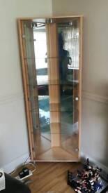 Pine glass panel corner unit with light