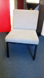 2 x Reception chairs steel frame Grey cloth finish in VGC