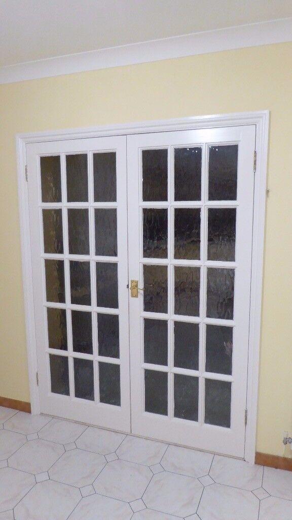 Pair of glazed interior doors