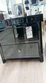 Black Glass 2 Drawer Unit
