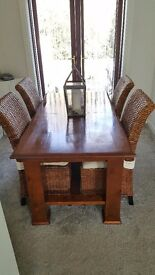 Dining Table & 4 Rattan Chairs
