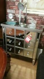 Mirrored 9 drawer unit