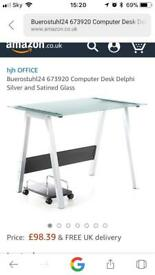 buerostuhl24 glass and steel desk