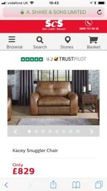 SCS Brown Leather Kacey Snuggle Chair
