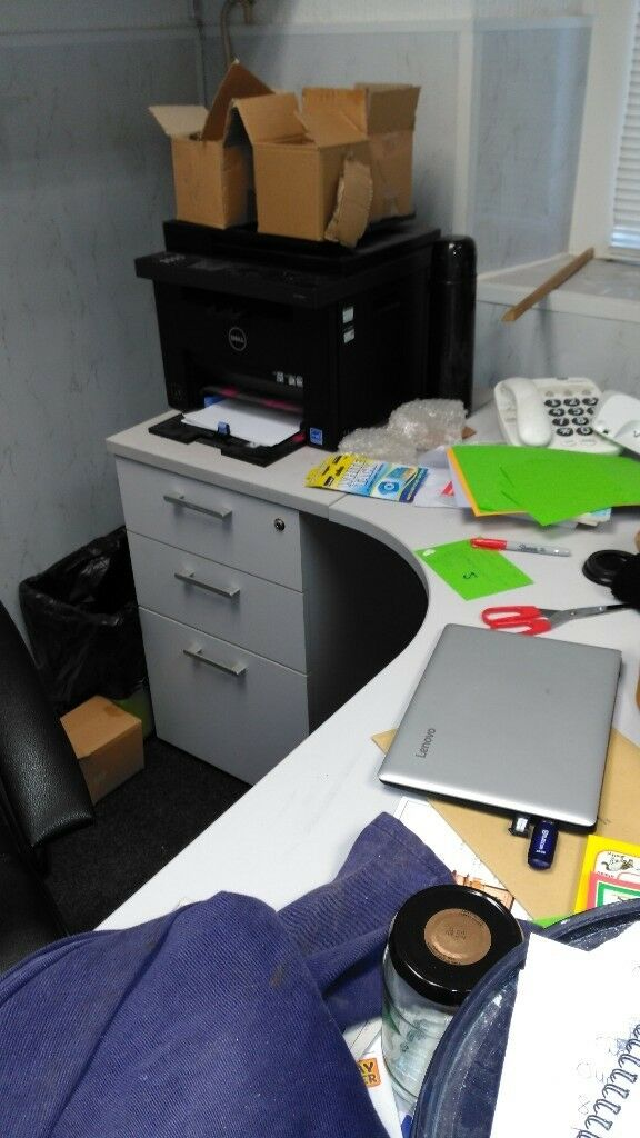 Large Grey Office Desk With Drawers Cabinet Two Available